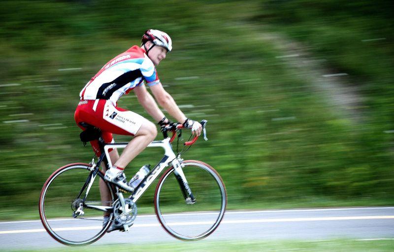 biker in shenandoah national park