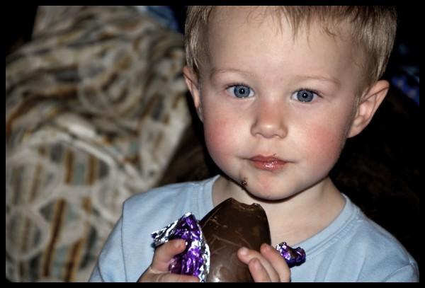 Kyler Enjoying his Chocolate Easter Egg