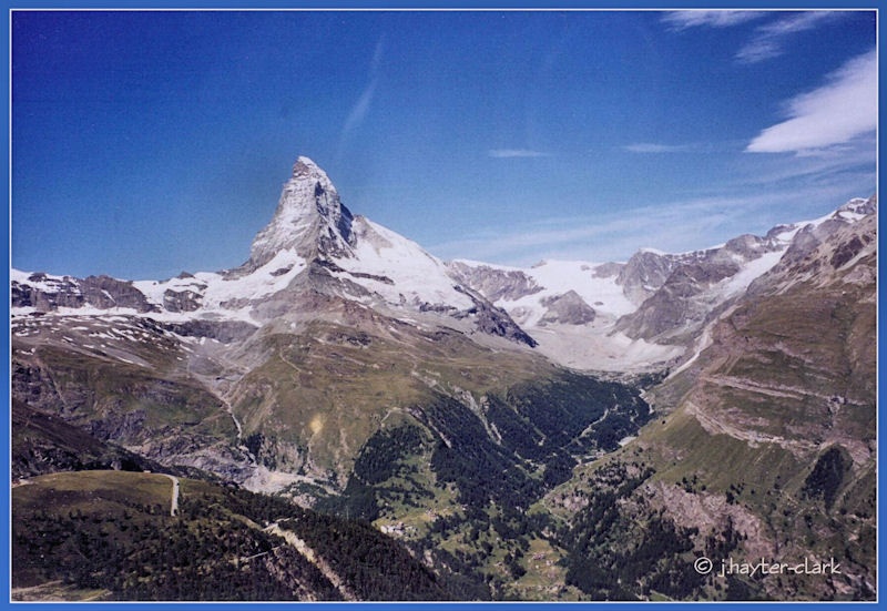 Approaching the Matterhorn in a helicopter...
