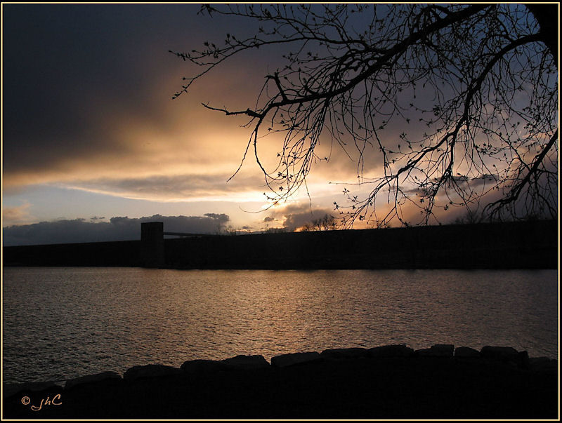 Sunset over the Cherry Creek Dam