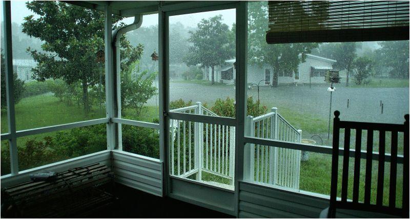 Flooding toward the street behind...