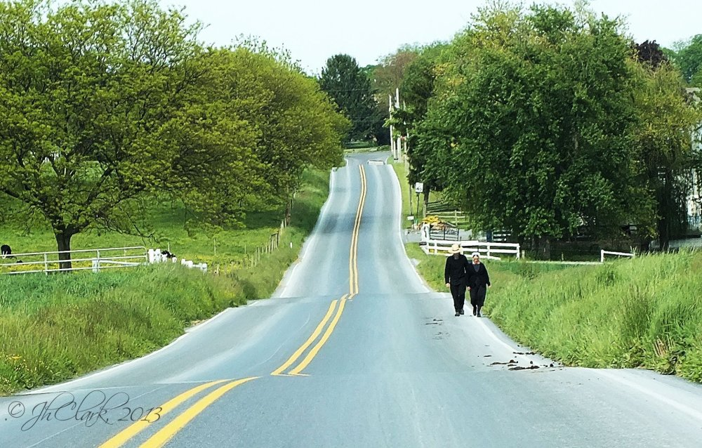 Amish couple walking...