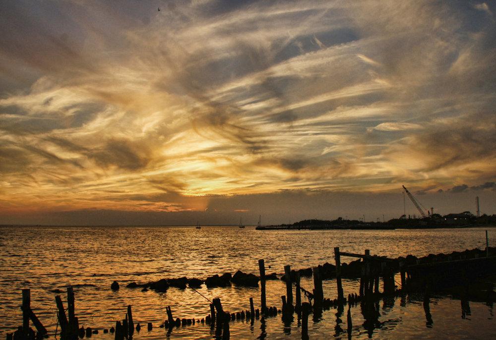Sunset over Sandy Hook, N J...