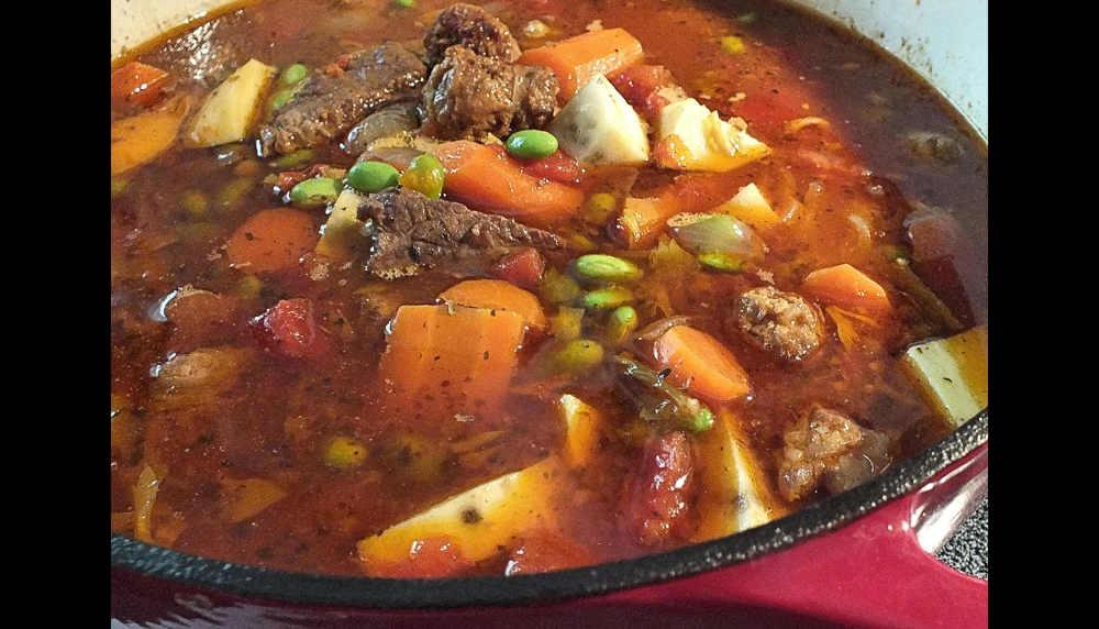 Beef 'n sausage soup...