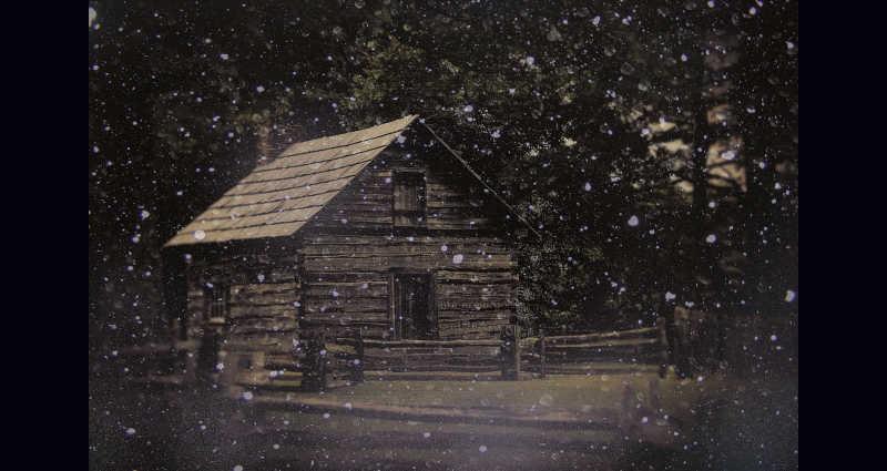 Puckett Cabin in snow...
