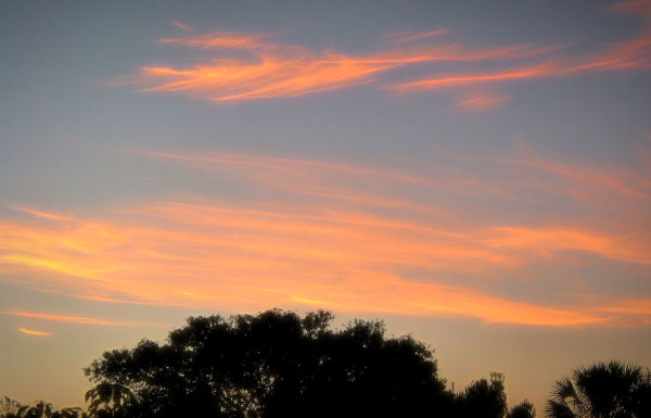 Sunrise colors in the west...