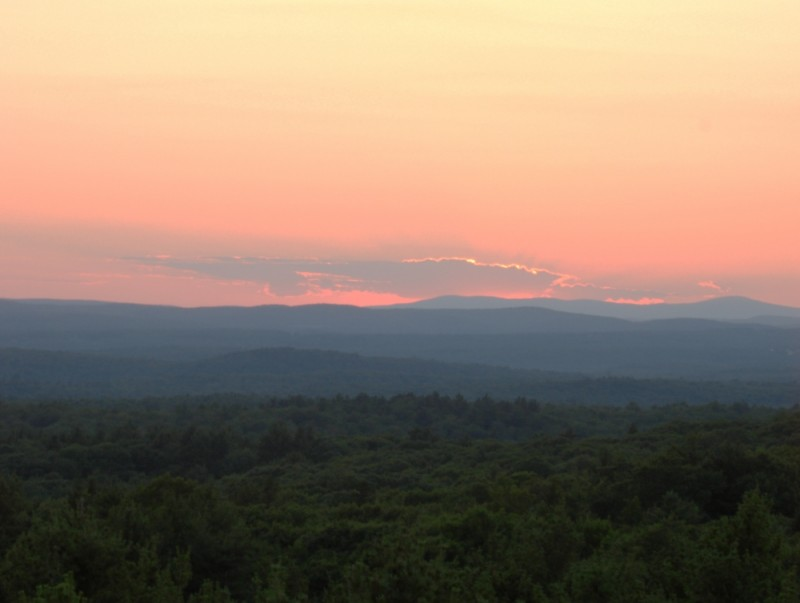 view from firetower at sunset