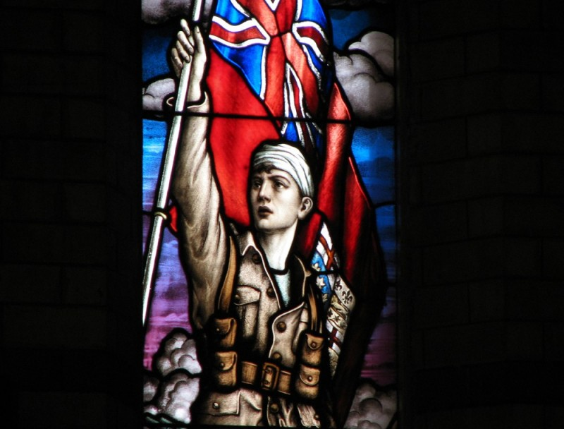 British Soldier of the angilican charch glass pain
