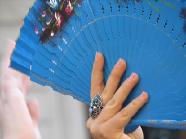 A woman holding a fan