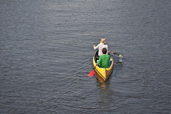 A couple paddling in the Alster