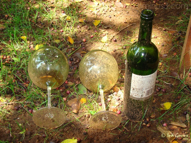 weathered wine glasses and wine bottle