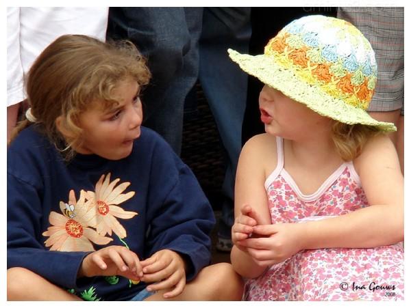 Little girls having a conversation