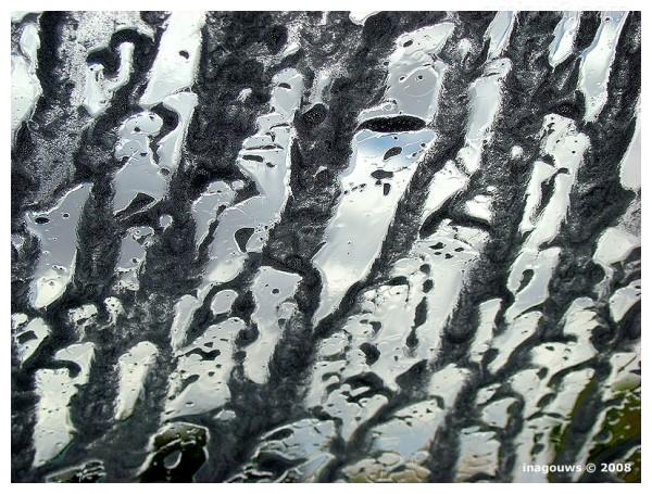 Closeup of soap on windscreen