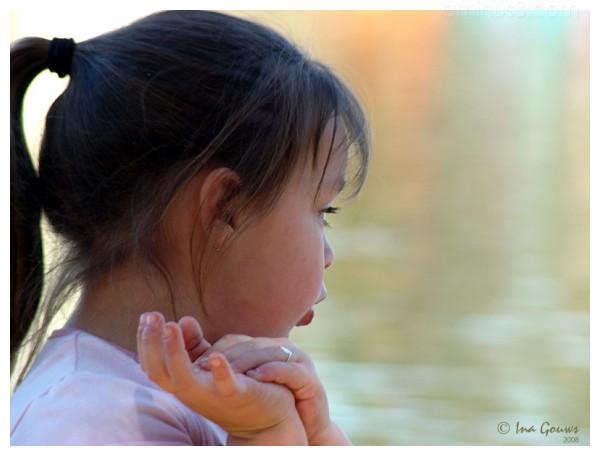 Little girl telling stories