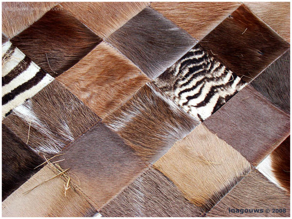 Carpet made of animal skin, patchwork