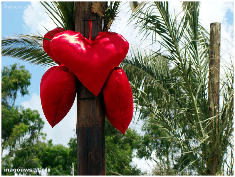 Big red hearts on pole for Valentine's Day