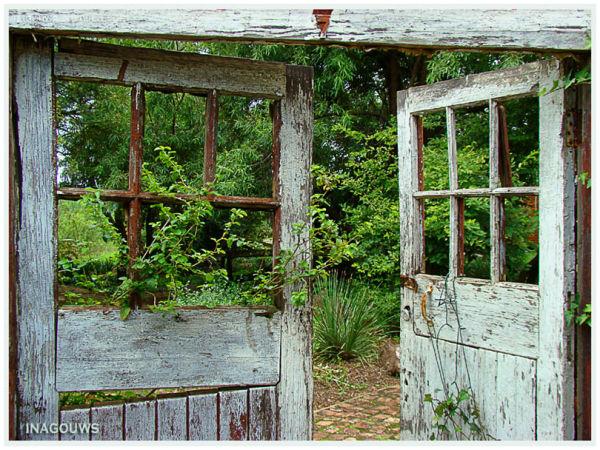 Secret Garden with weathered doors