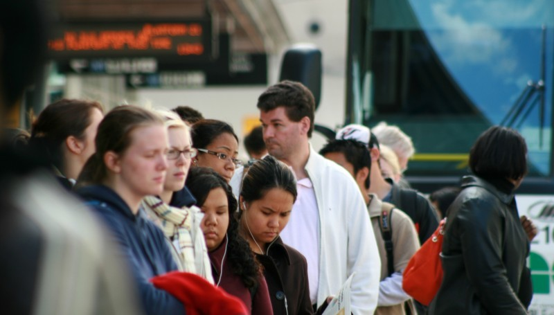 People waiting for their bus