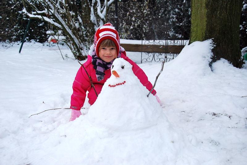 Schneemann gebaut