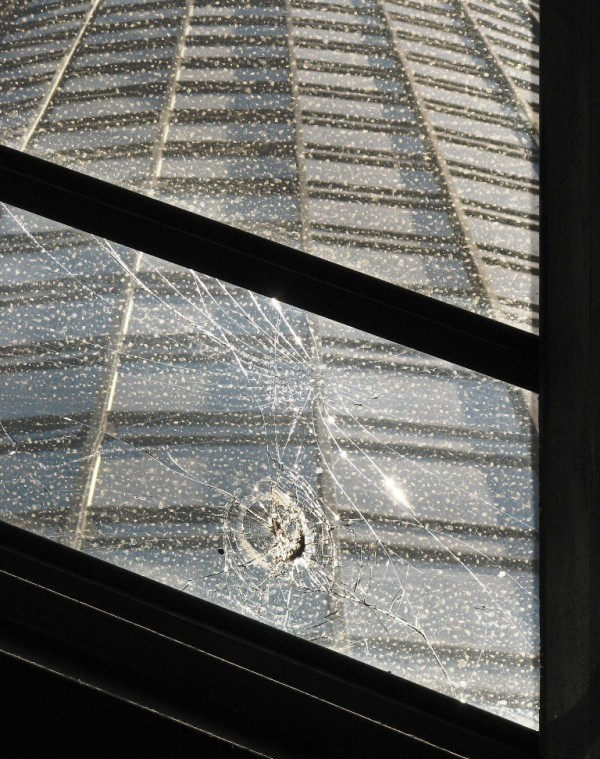 close-up cracked glass in Bonaventure lobby