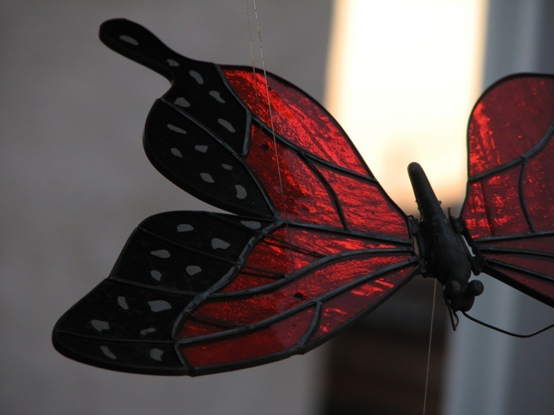 butterfly stained glass sculpture