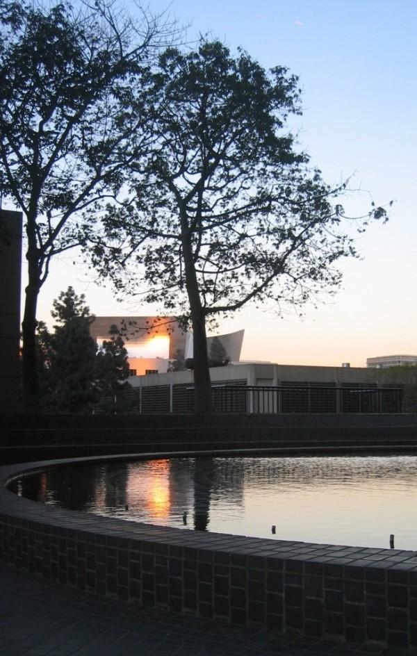reflected sunset disney concert hall downtown la