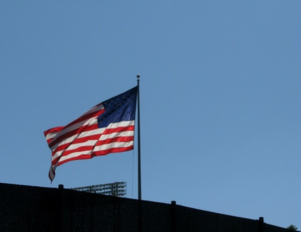 american flag by dodger stadium