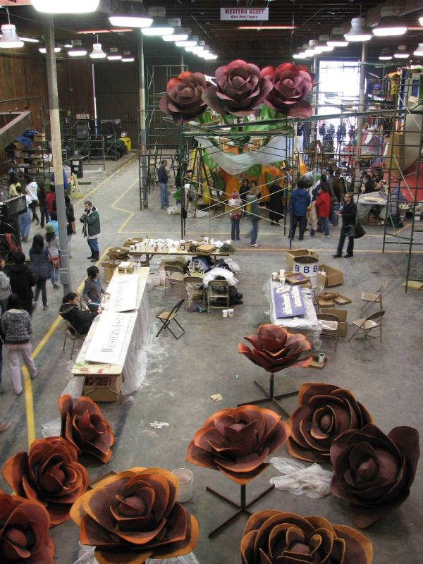 rose parade floats under construction