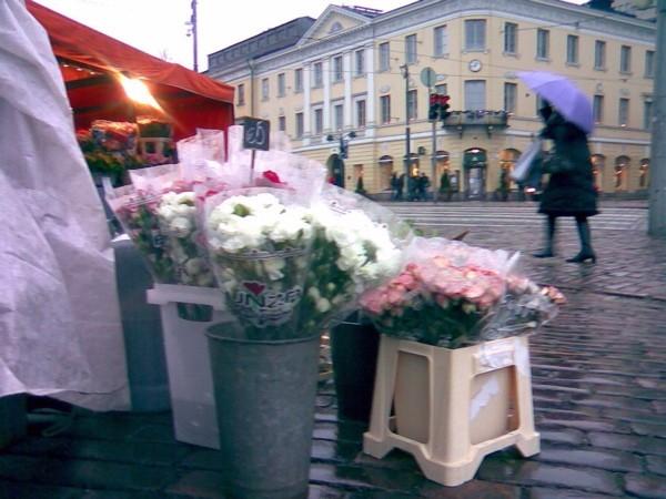 A flower stall in Helsinki city center.