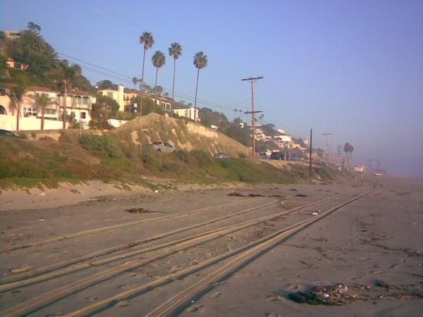Tracks on Malibu Beach.
