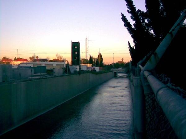Los Angeles River at dusk.