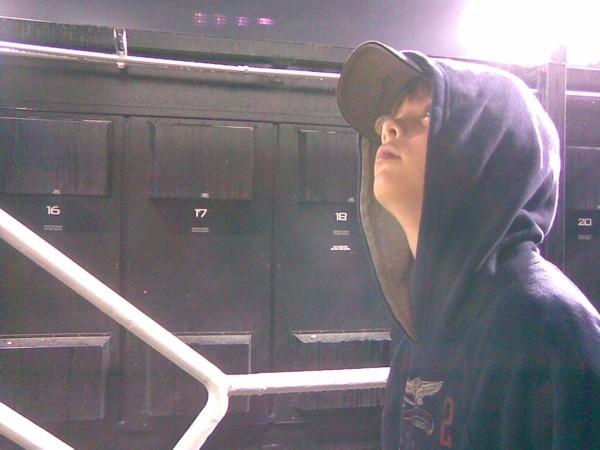 Rain delay at Dodger Stadium, 2 April 2008.