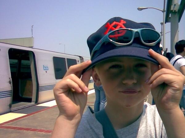 Aidan at the BART Station.