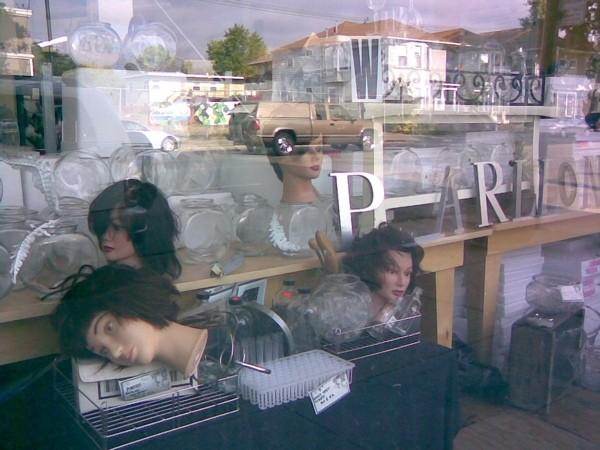 Shop window, Telegraph Avenue, Oakland.