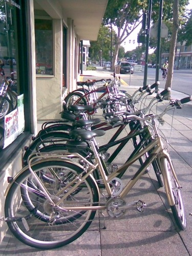 Outside the Tip Top Bike Shop, Oakland.