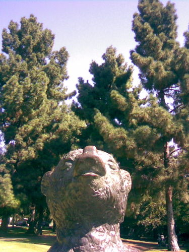 Bear statue at entrance to Griffith Park, L.A.
