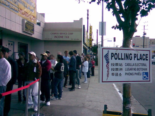 Queue outside a polling station in Los Angeles.