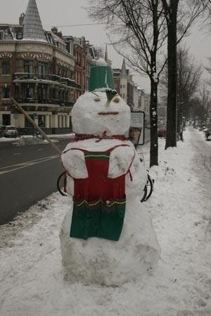 Snowman in the street