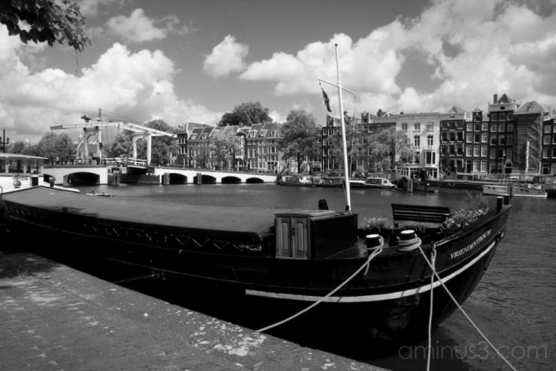 House boat near amsterdams skinny bridge