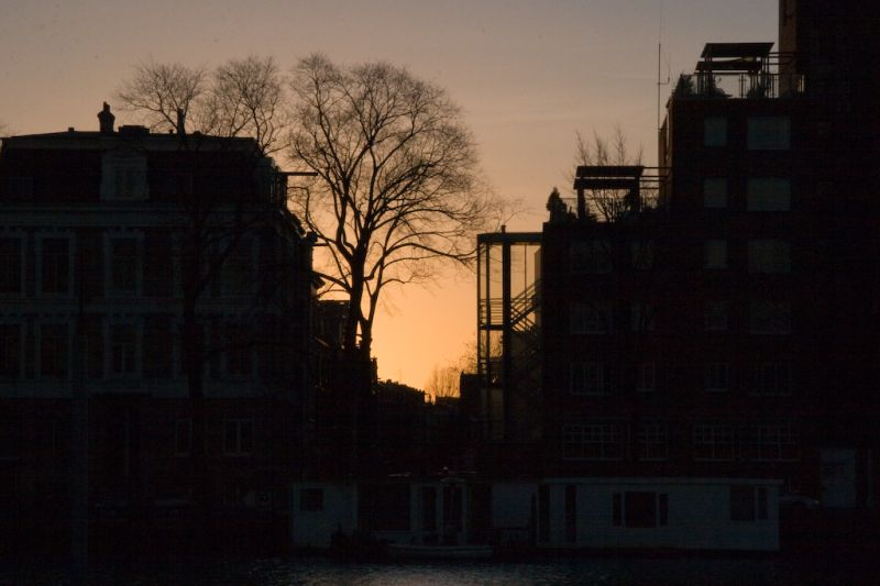 Silhouette of the river amstel in Amsterdam