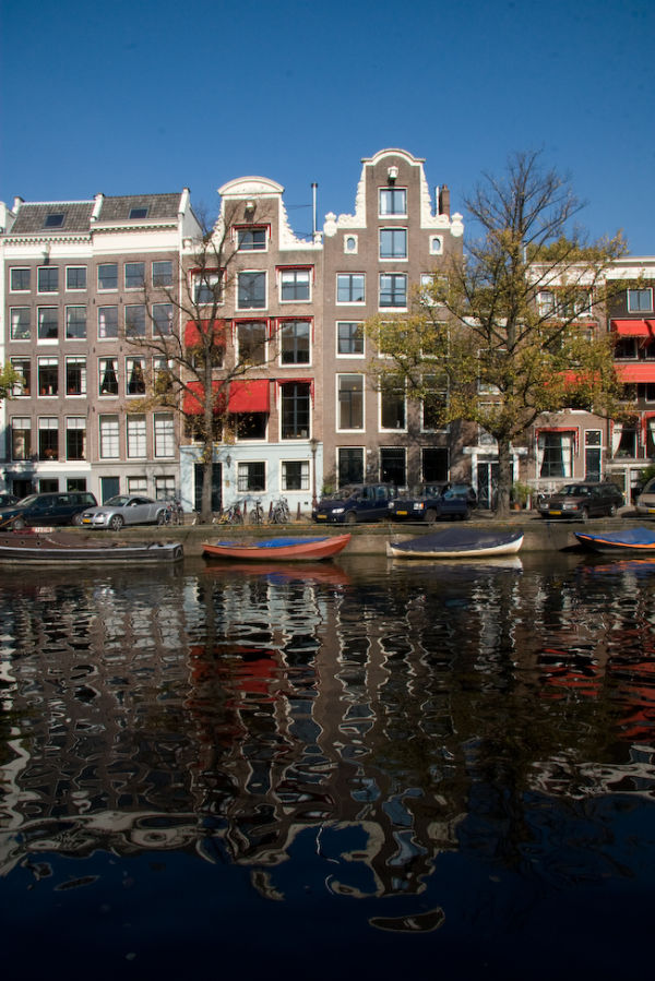 Canal side reflection in Amsterdam