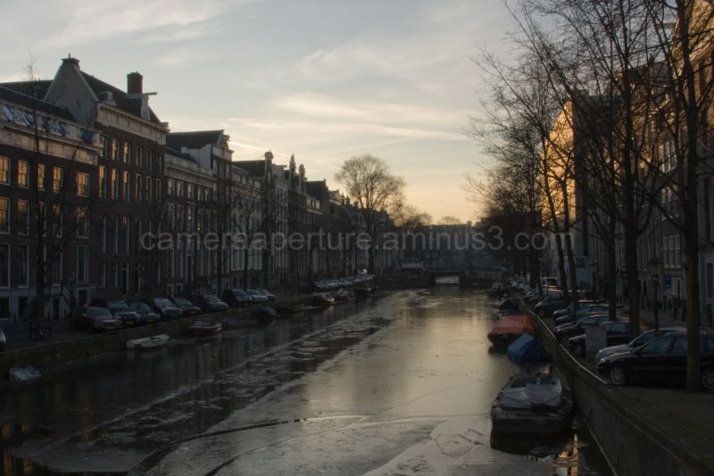 Ice in the Amsterdam canal