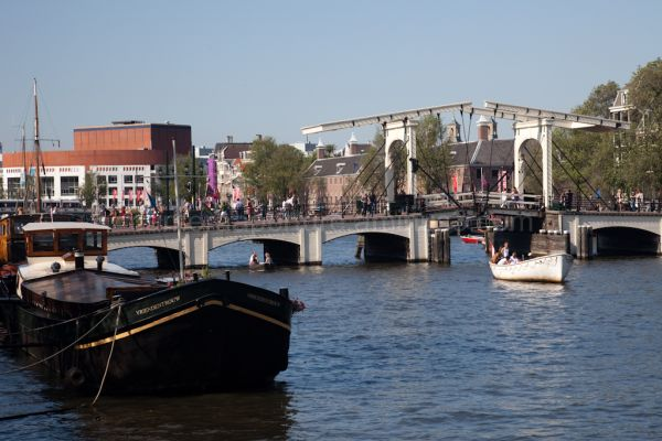 Swing bridge over the river Amstel river.