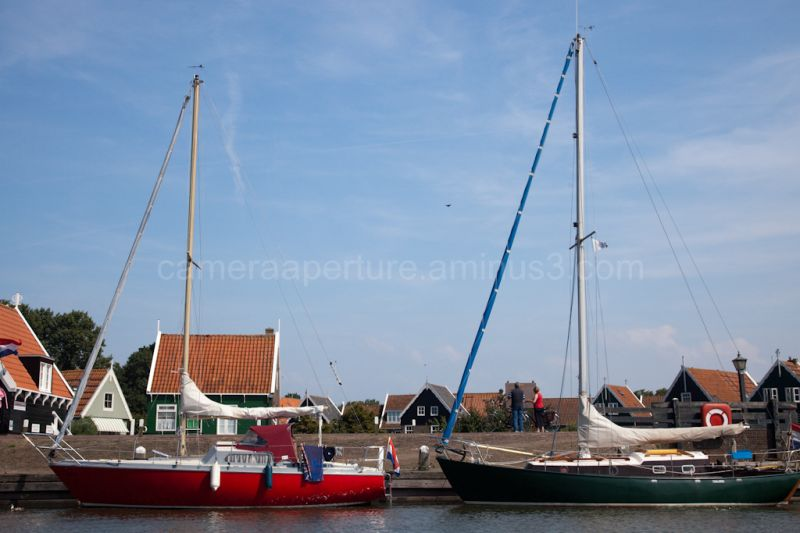 Sailing boats in the harbour of Marken.