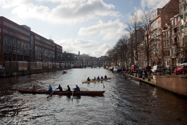 Rows on an Amsterdam canal