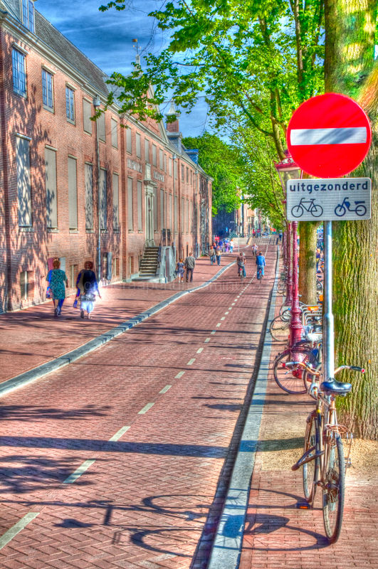 A shadow of a bike on the bike lane
