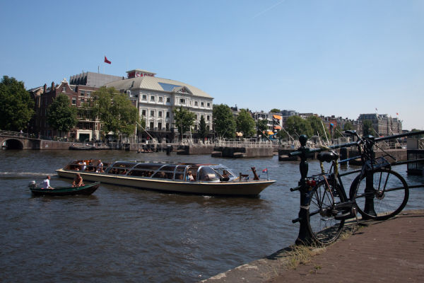 Amsterdam tourist boat on the river