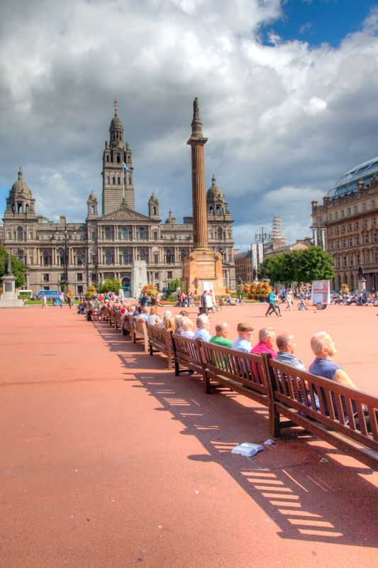 George Square in the city of Glasgow, Scotland