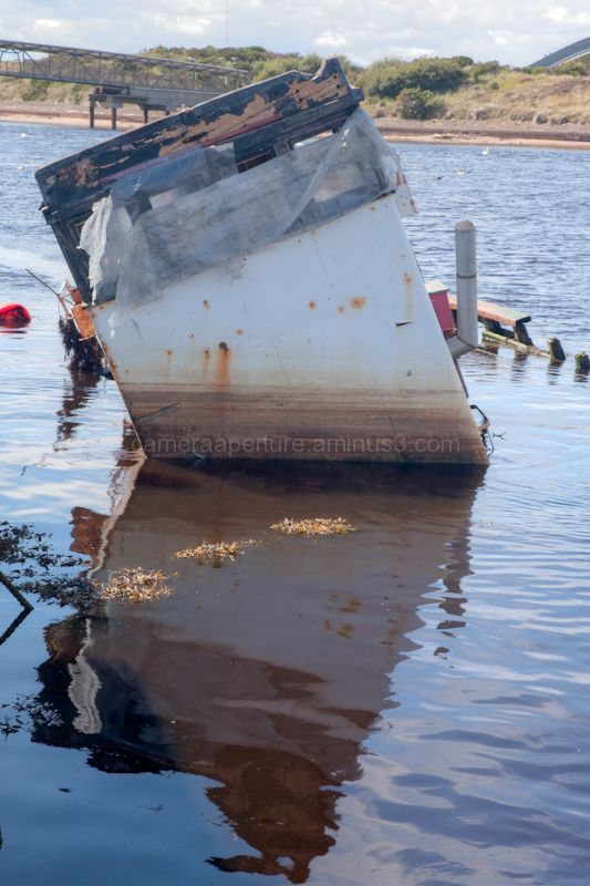 A sunken boat in the harbour of Irvine Scotland