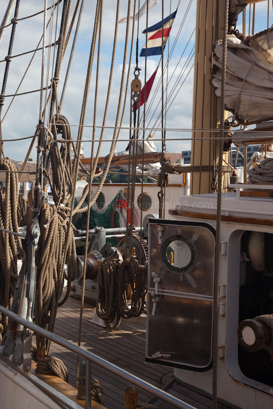 The rigging of a sail boat